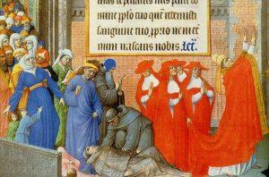 Miniatura de un libro de oraciones del siglo XV : el papa Gregorio I conduce una procesión alrededor de Roma, para pedir el fin de la epidemia de peste